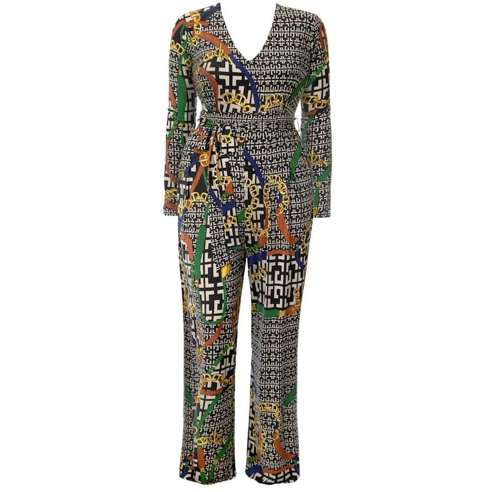 Posh Shoppe: Plus Size Chain Print Wide Leg Jumpsuit Bottoms