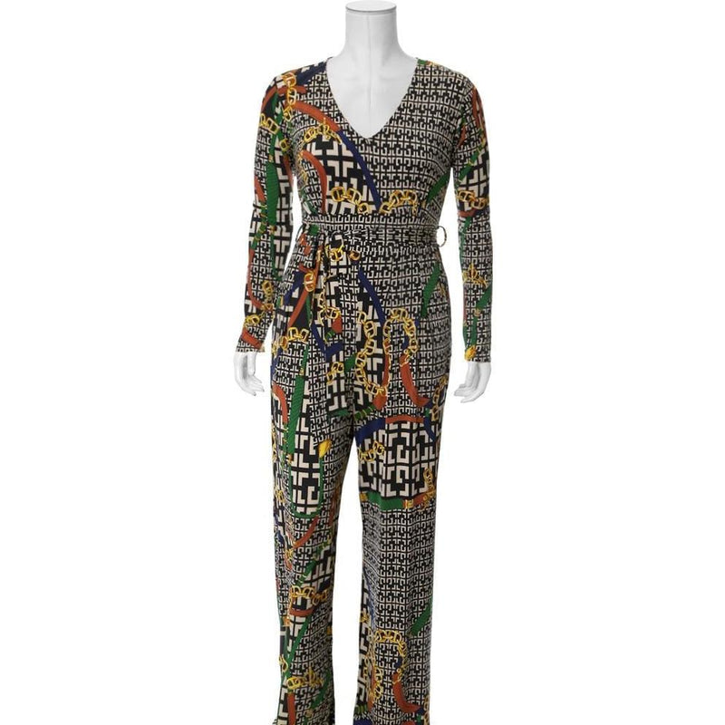 Plus Size Chain Print Wide Leg Jumpsuit