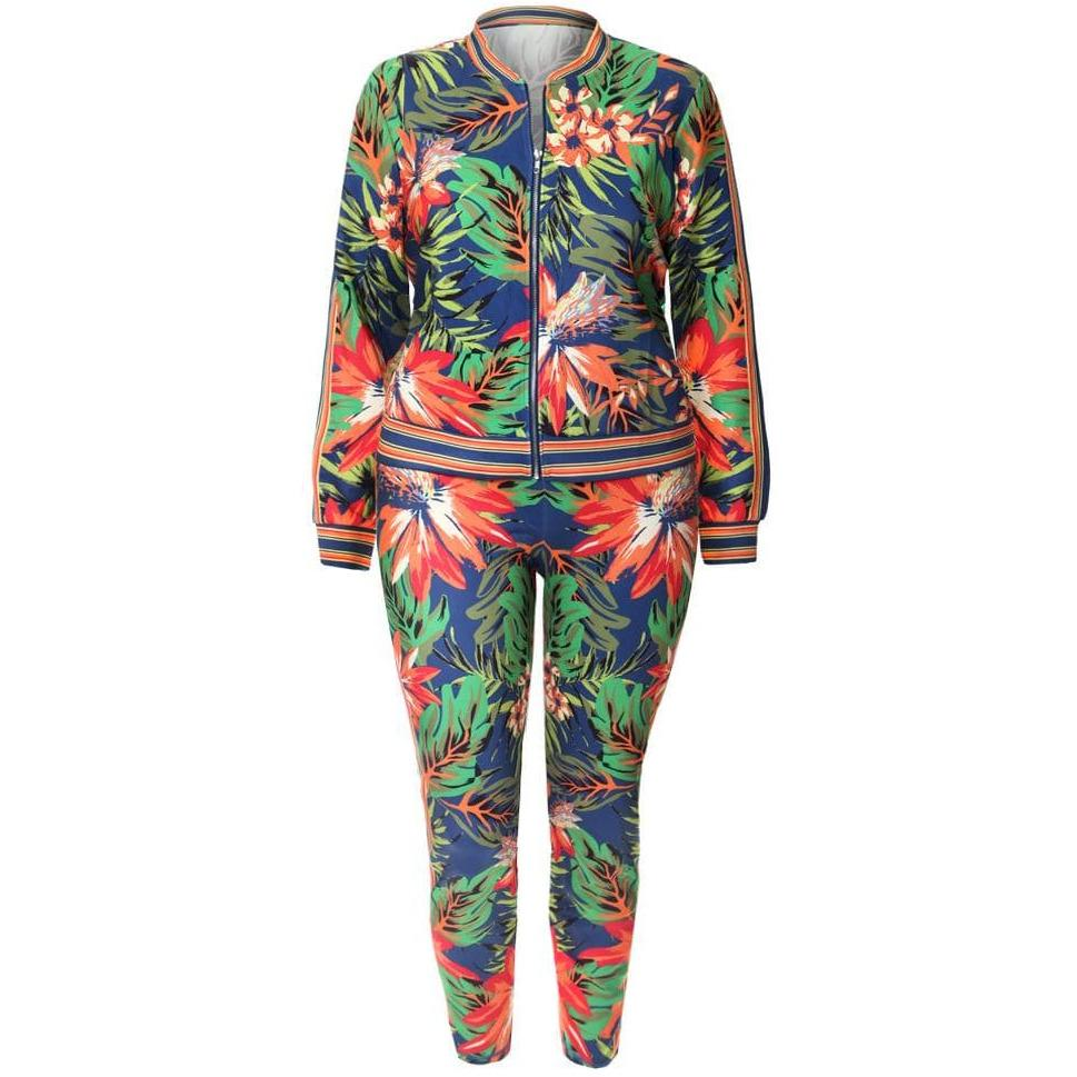Posh Shoppe: Plus Size Luxe Track Suit Set, Blue Tropics Print Bottoms