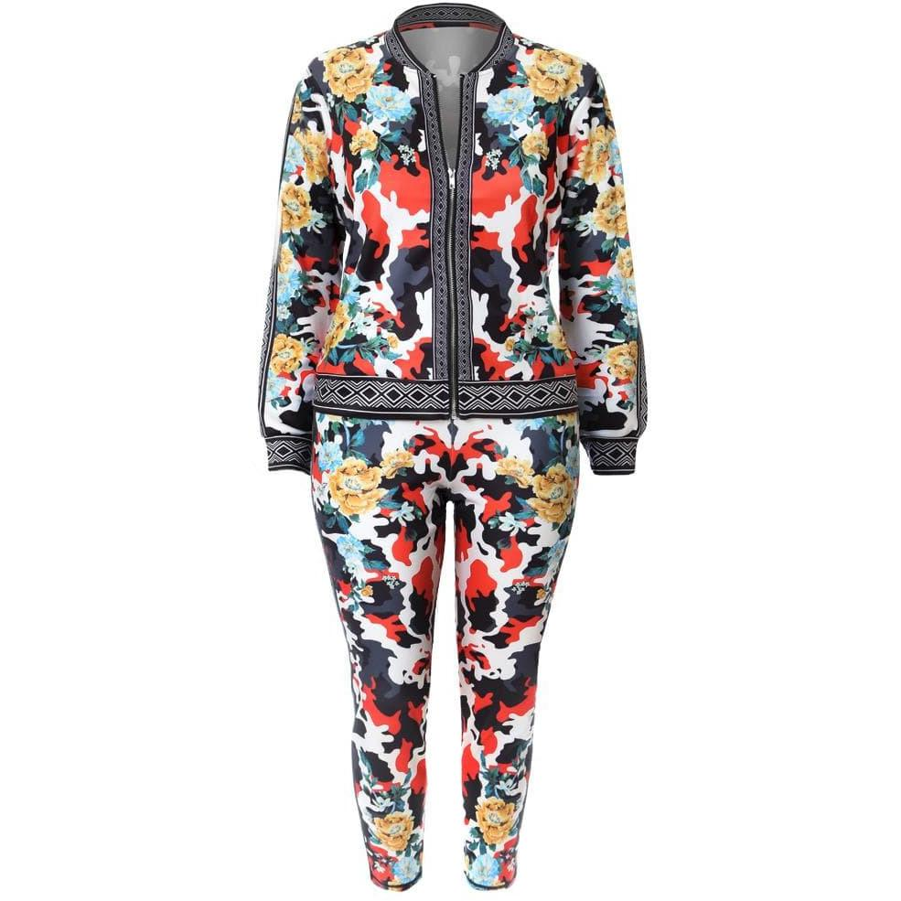 Posh Shoppe: Plus Size Luxe Track Suit Set, Camo Garden Print Bottoms