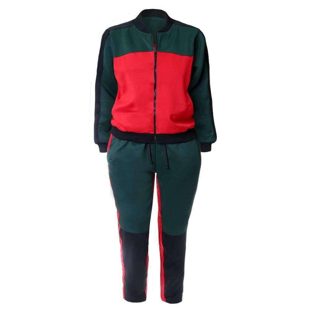 Plus Size Track Suit Set, Red & Green Color Blocking