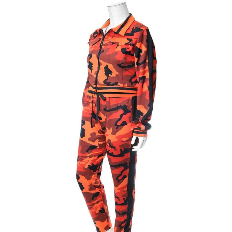 Plus Size Track Suit Set, Orange Camo