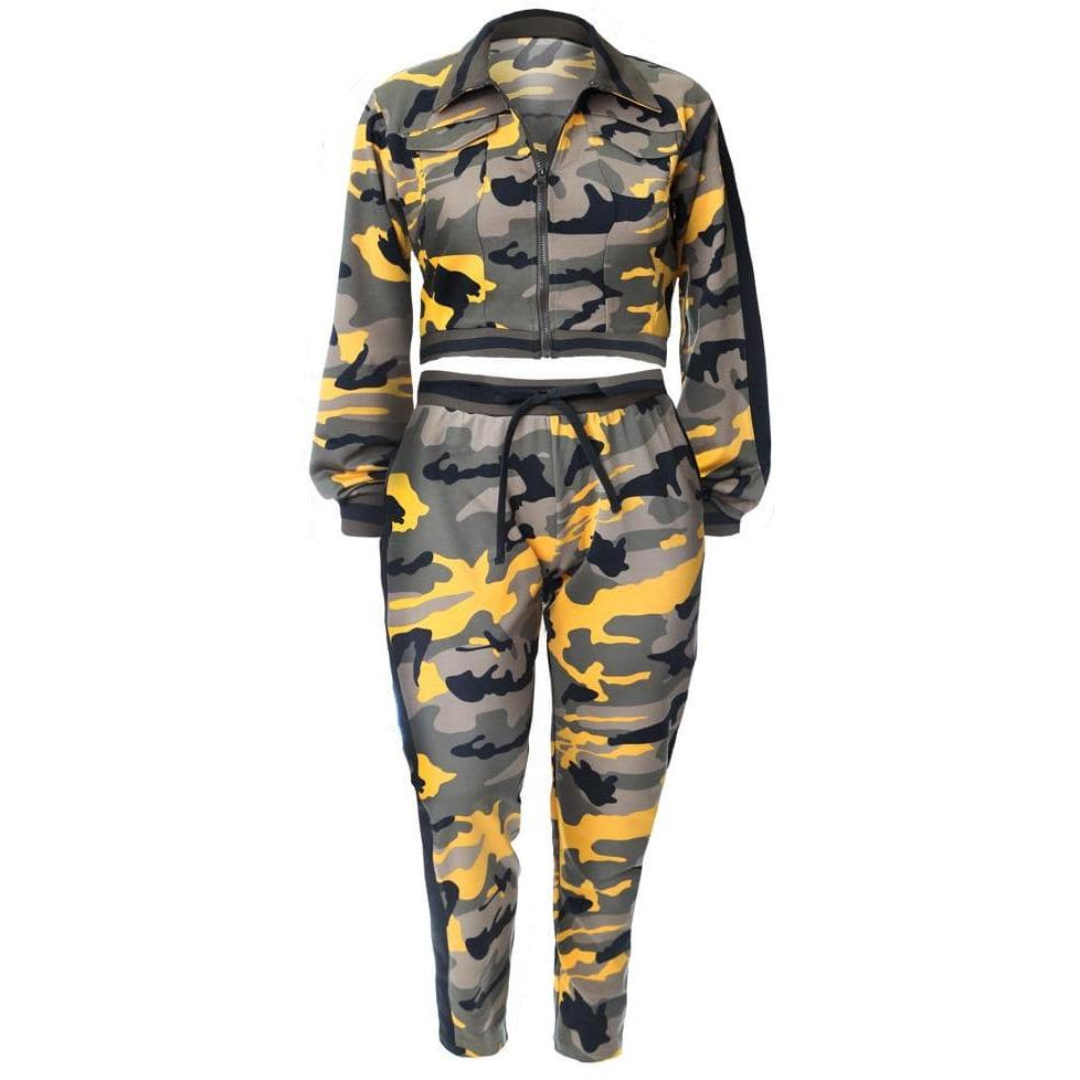 Plus Size Track Suit Set, Yellow Camo