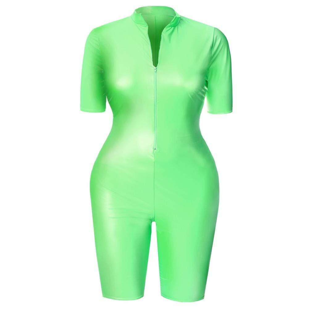 Posh Shoppe: Plus Size Matte Cropped Jumpsuit, Neon Green Dress