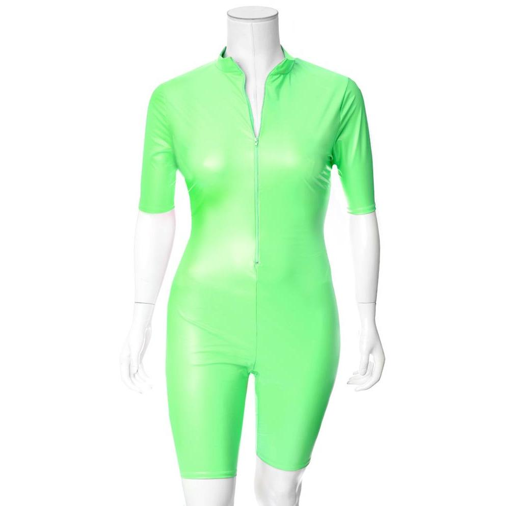 Plus Size Matte Cropped Jumpsuit, Neon Green