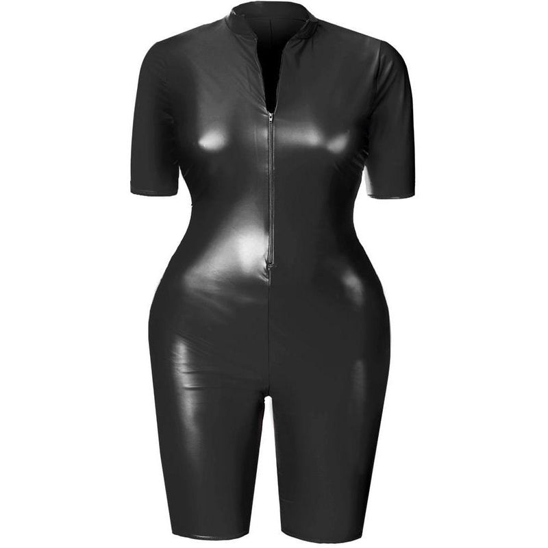Plus Size Matte Cropped Jumpsuit, Matte Black