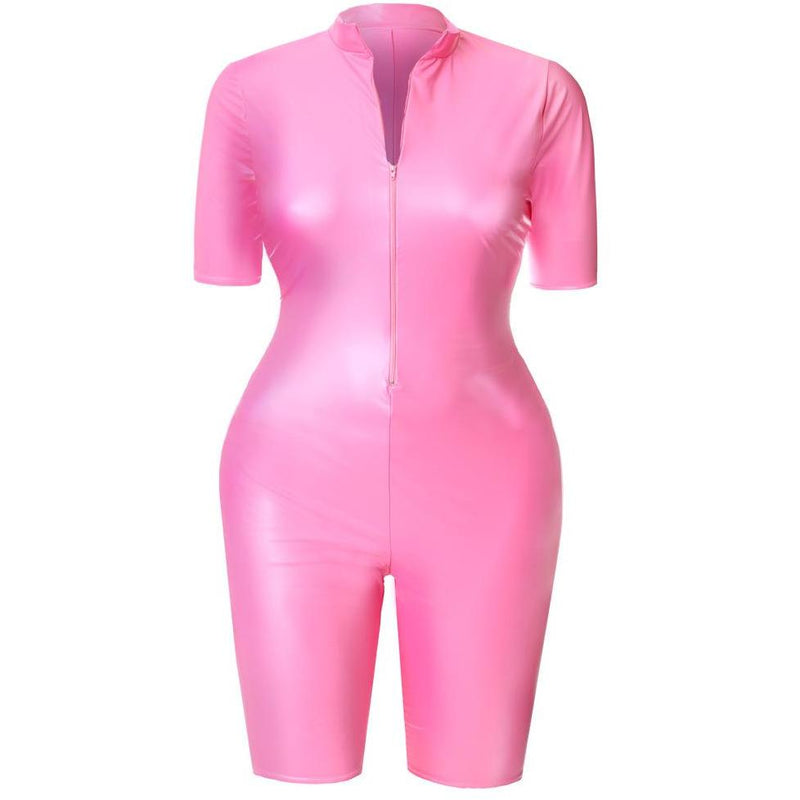 Posh Shoppe: Plus Size Matte Cropped Jumpsuit, Neon Pink Dress