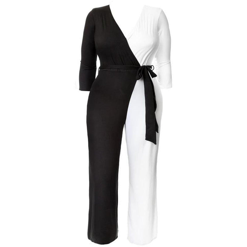 Posh Shoppe: Plus Size Contrast Faux Wrap Jumpsuit, Black and White Bottoms