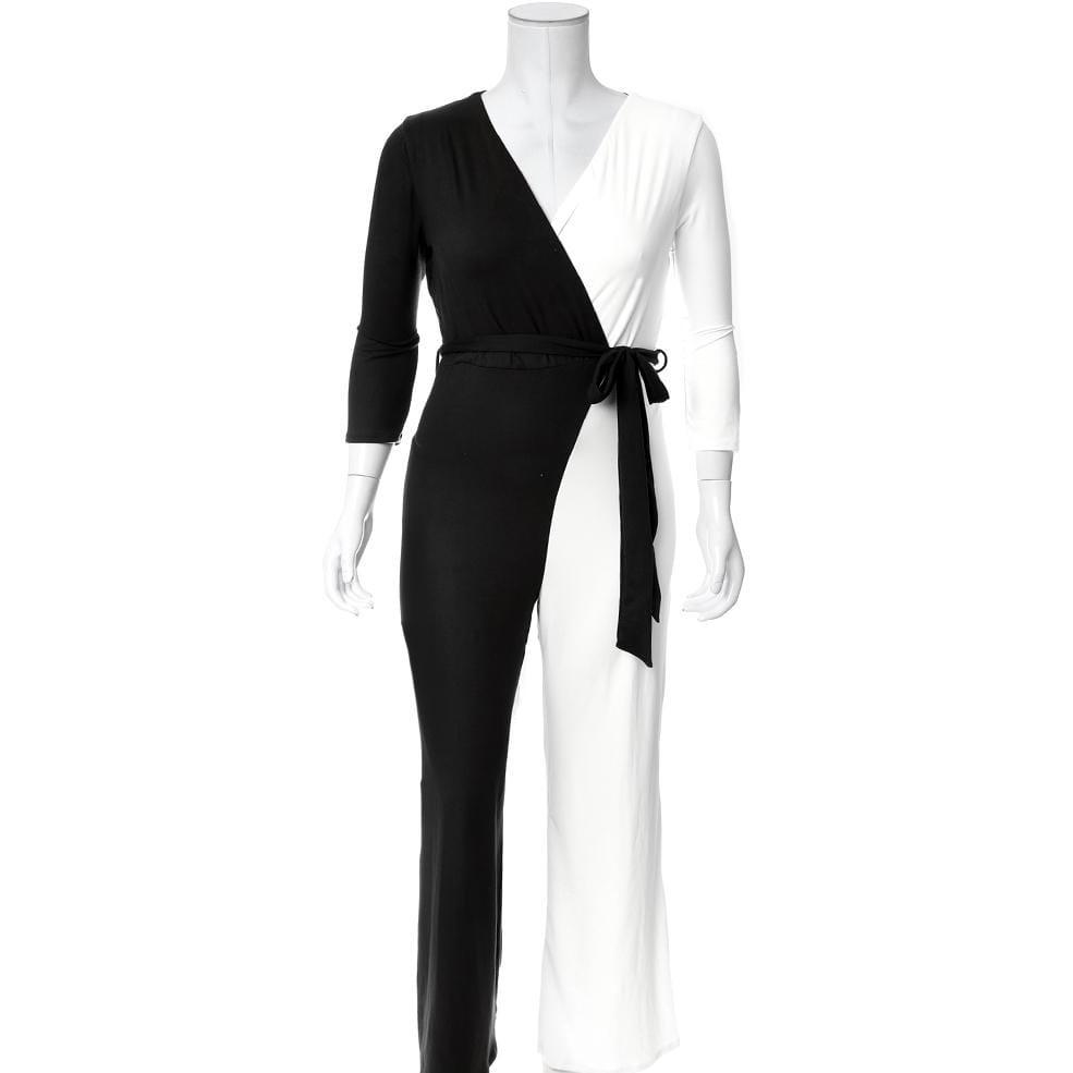 Plus Size Contrast Faux Wrap Jumpsuit, Black and White
