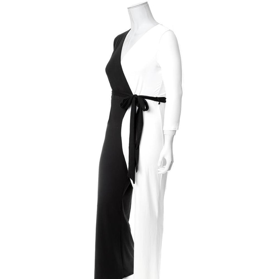 BLACK AND WHITE WRAP CONTRAST JUMPSUIT