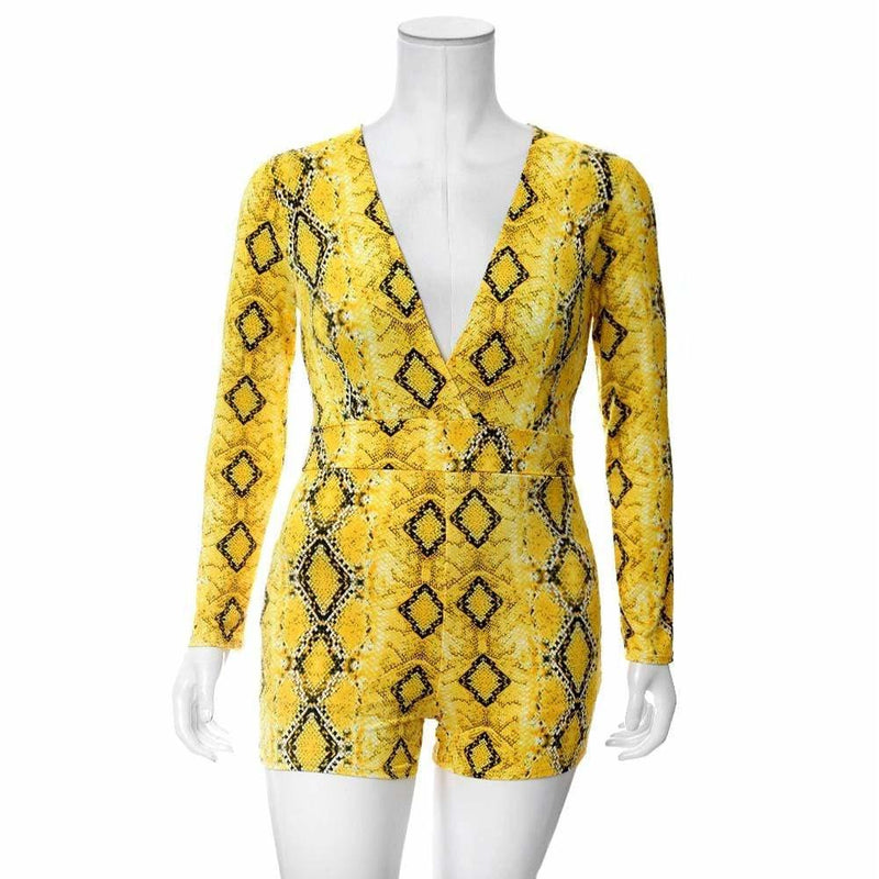 Plus Size Snake Print Romper, Yellow