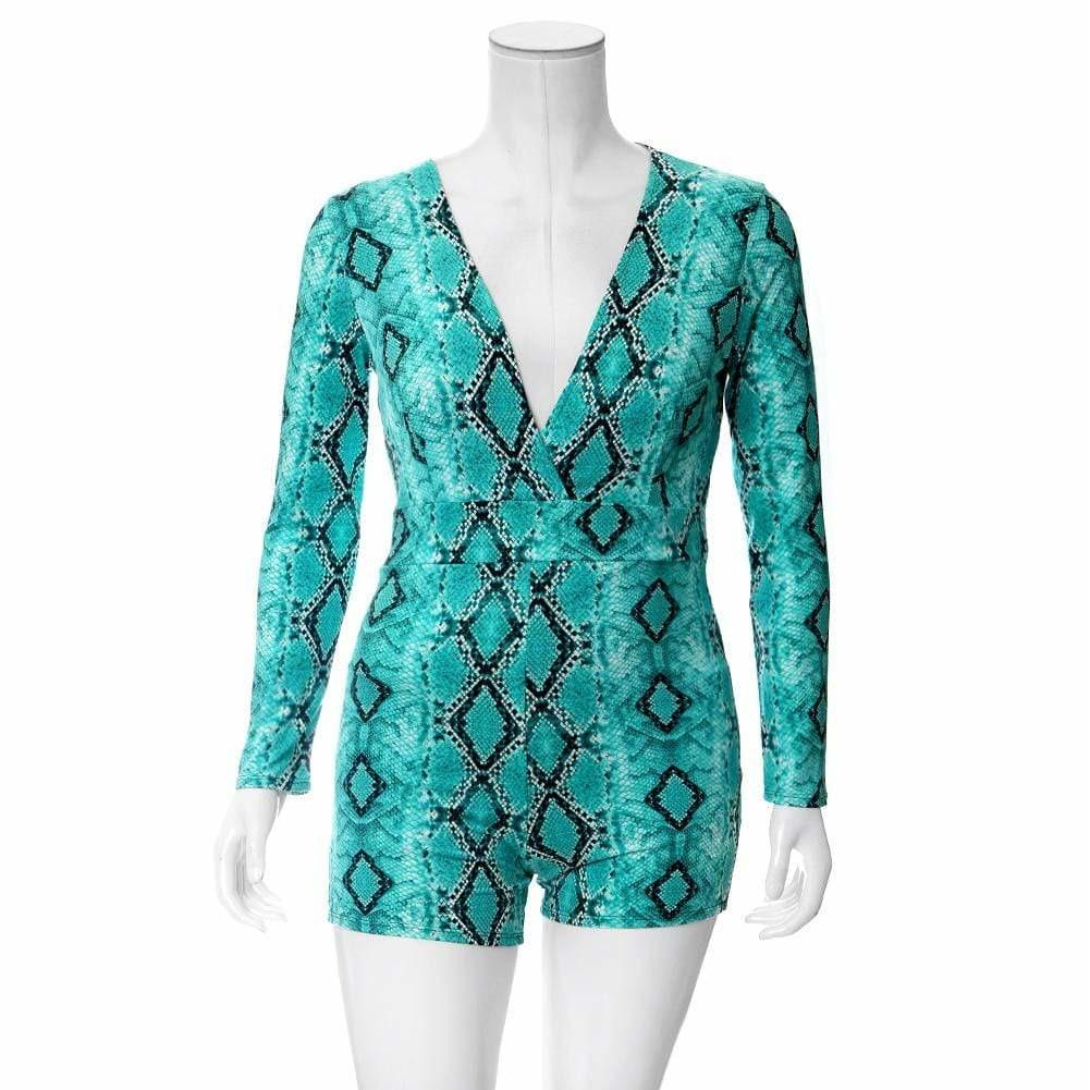 Plus Size Snake Print Romper, Teal