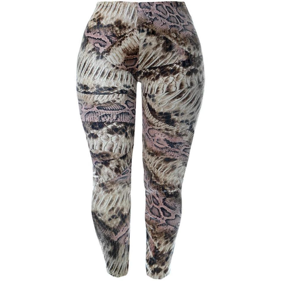 Posh Shoppe: Plus Size Faux Snake Skin Leggings, Warm Neutrals Bottoms