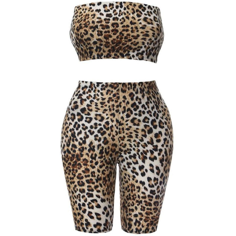 Plus Size 2 Piece Cardigan and Pants Set, Brown Animal Print