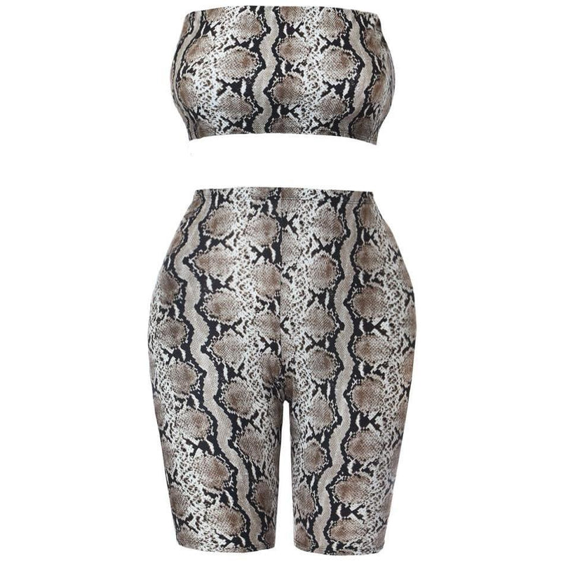 Plus Size 2 Piece Strapless Top & Biker Shorts Set, Animal Print