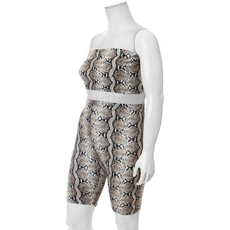 Posh Shoppe: Plus Size 2 Piece Strapless Top & Biker Shorts Set, Snake Print Bottoms
