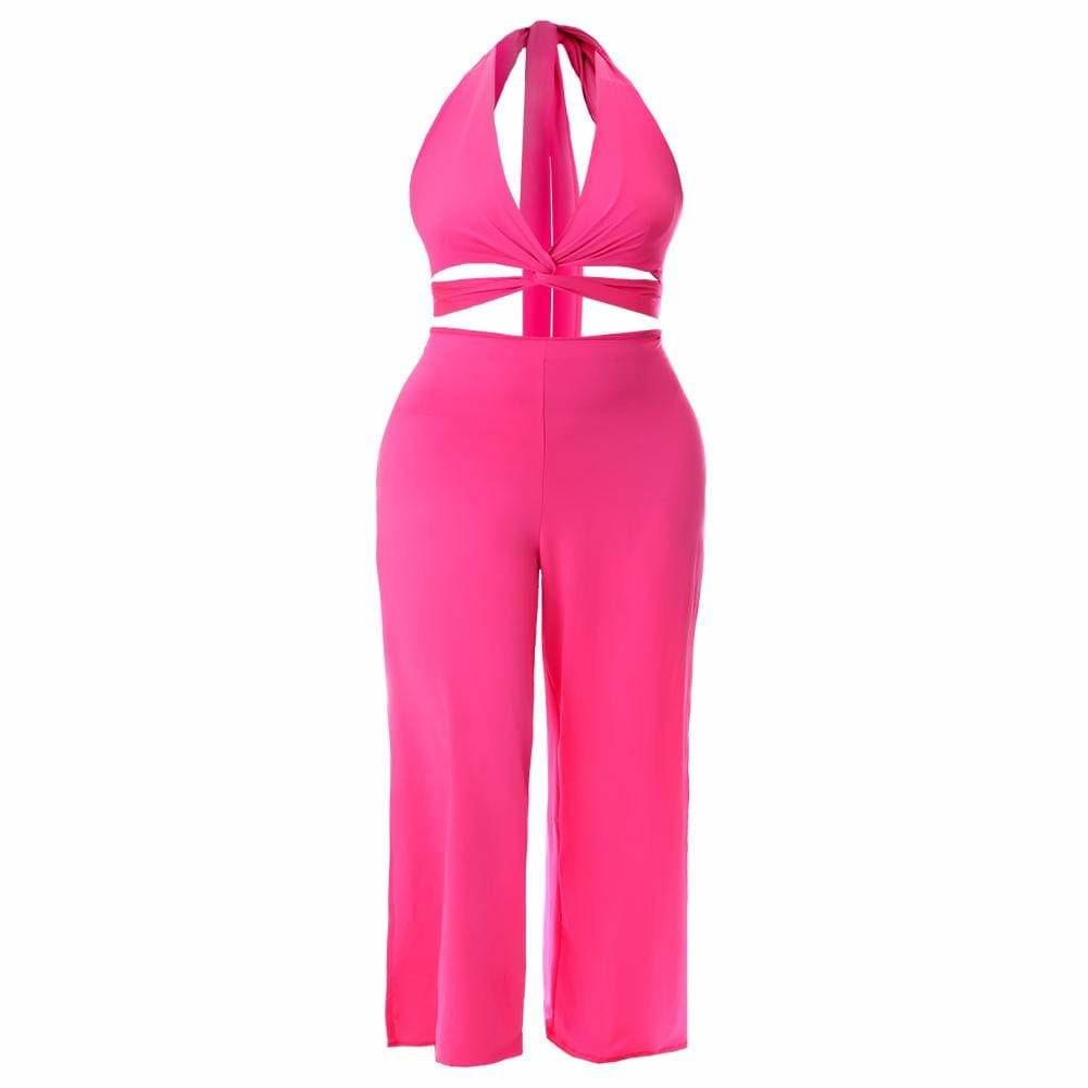 Posh Shoppe: Plus Size Twist Front Halter Jumpsuit, Neon Pink Bottoms