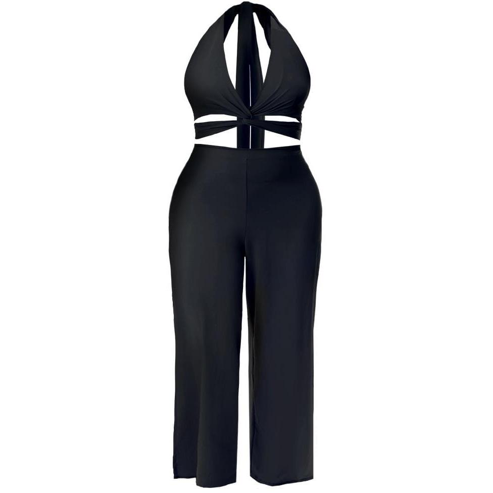 Plus Size Twist Front Halter Jumpsuit, Black