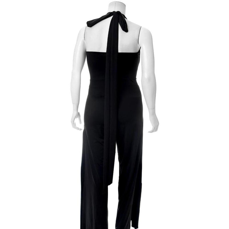 Posh Shoppe: Plus Size Twist Front Halter Jumpsuit, Black Bottoms