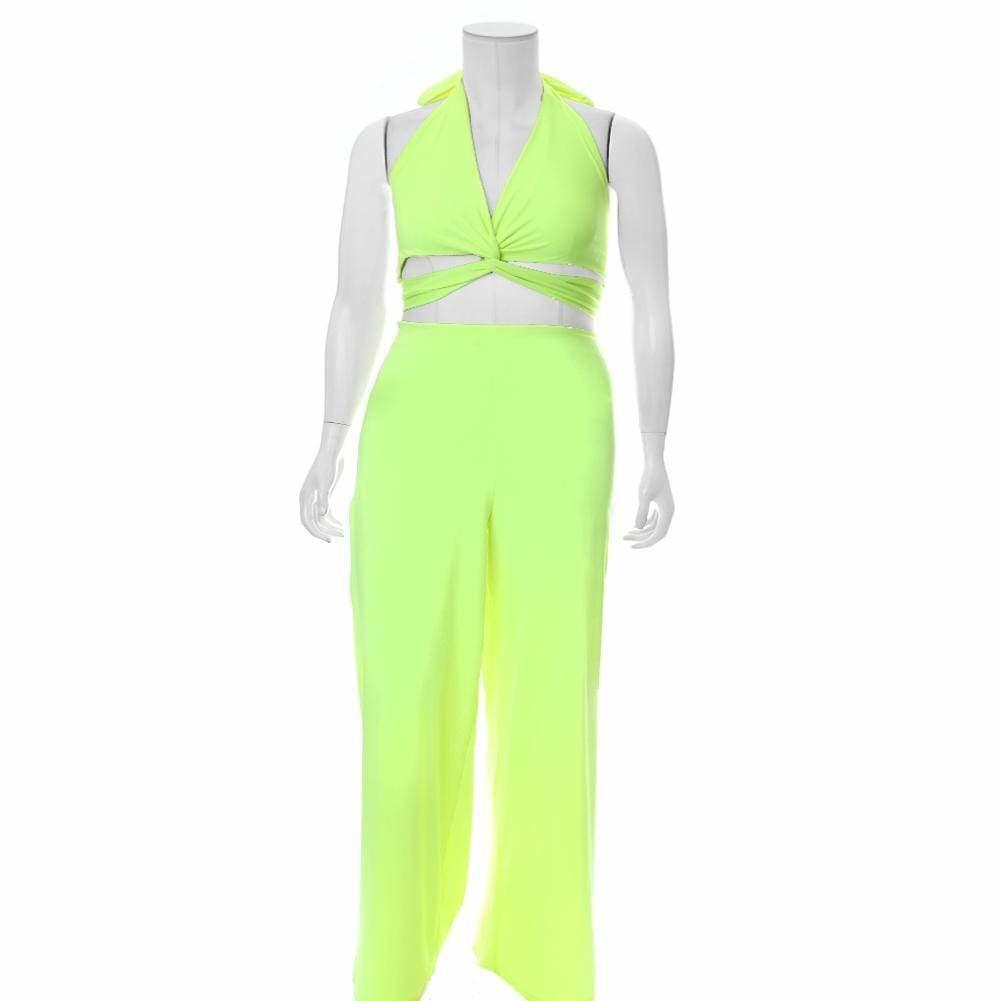 Posh Shoppe: Plus Size Twist Front Halter Jumpsuit, Neon Yellow Bottoms