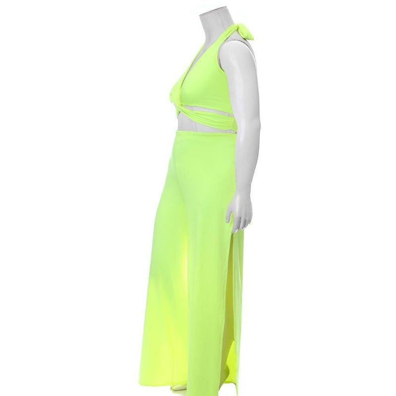 Plus Size Twist Front Halter Jumpsuit, Neon Yellow