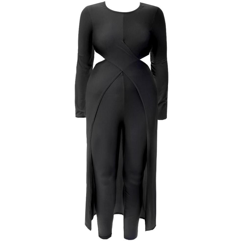 Posh Shoppe: Plus Size Jersey Cross Front Top and Leggings Set, Black Bottoms