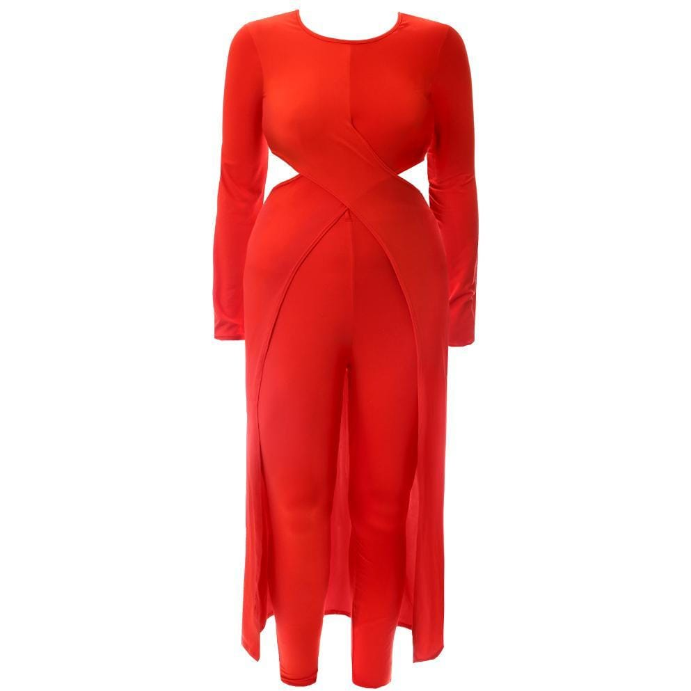 Posh Shoppe: Plus Size Jersey Cross Front Top and Leggings Set, Red Bottoms