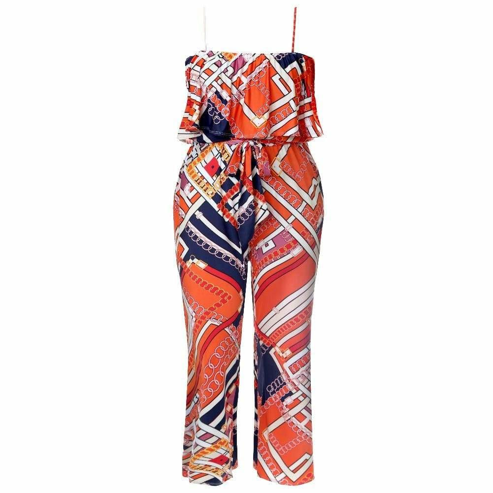 Posh Shoppe: Plus Size Ruffle Convertible Top Scarf Print Jumpsuit, Orange Dress
