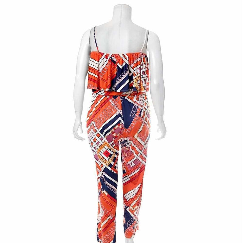 Plus Size Ruffle Convertible Top Scarf Print Jumpsuit, Orange