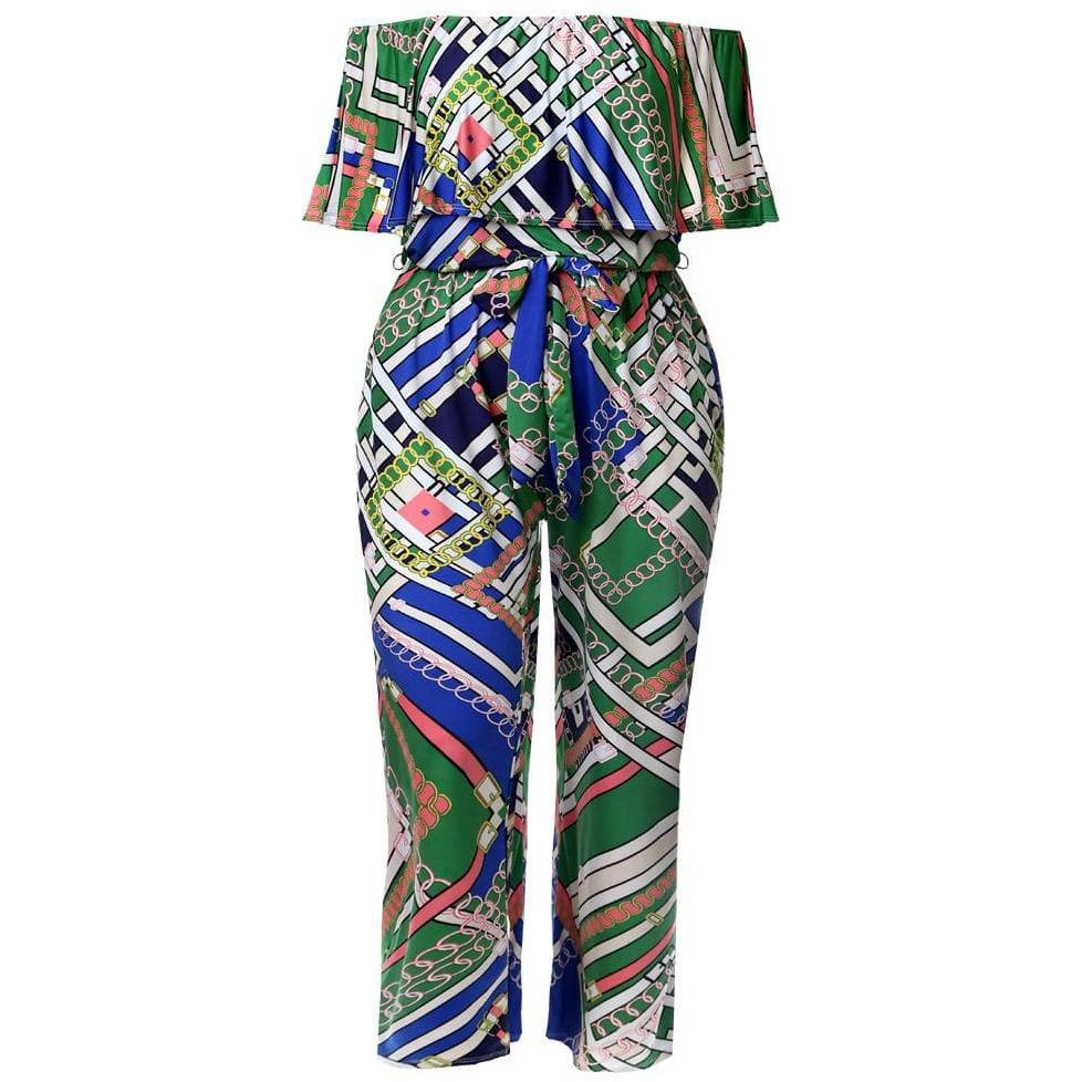 Plus Size Ruffle Convertible Top Scarf Print Jumpsuit, Green