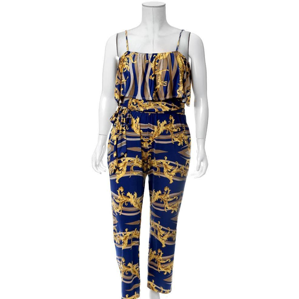 Posh Shoppe: Plus Size Ruffle Convertible Top Chain Print Jumpsuit, Blue Dress