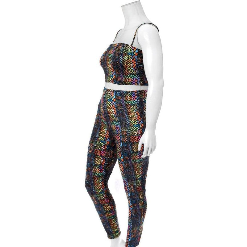 Plus Size Reversible Lace Up Top and Leggings Set, Snake Print