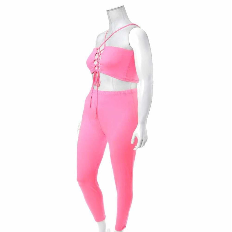 Plus Size Reversible Lace Up Top and Leggings Set, Neon Pink