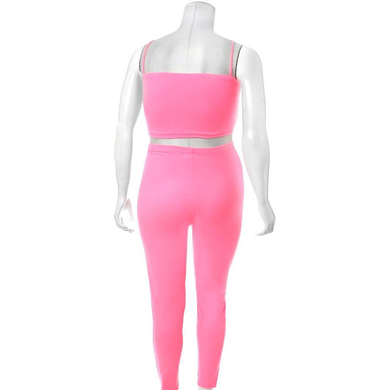 Posh Shoppe: Plus Size Reversible Lace Up Top and Leggings Set, Neon Pink Bottoms