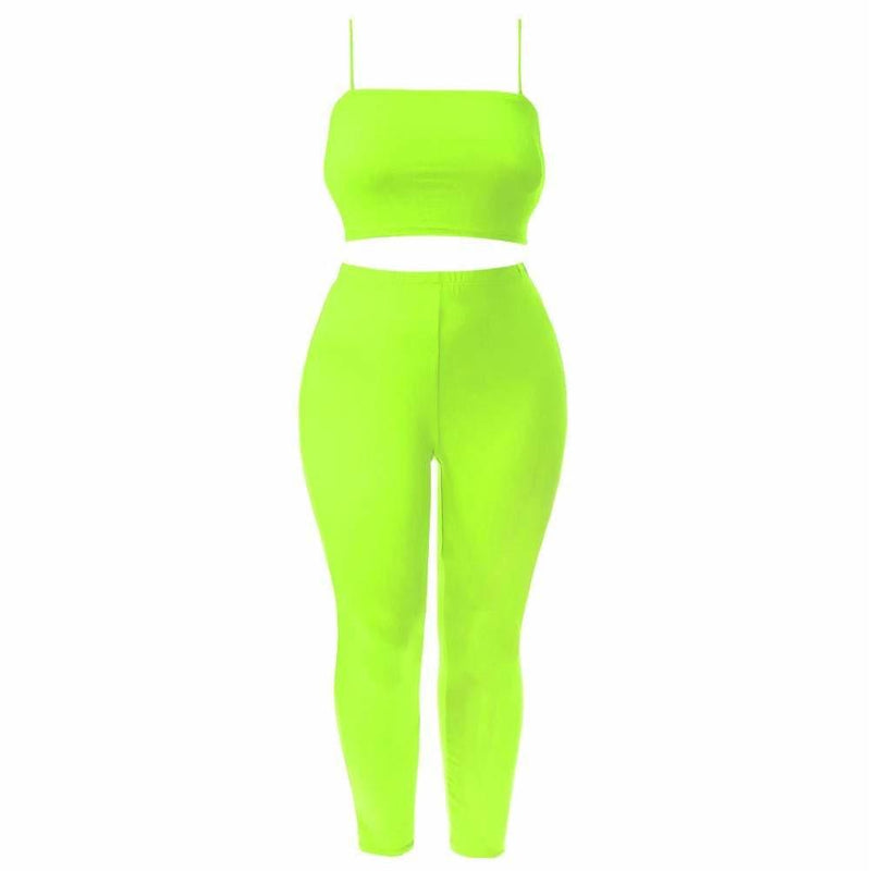 Plus Size Reversible Lace Up Top and Leggings Set, Neon Green