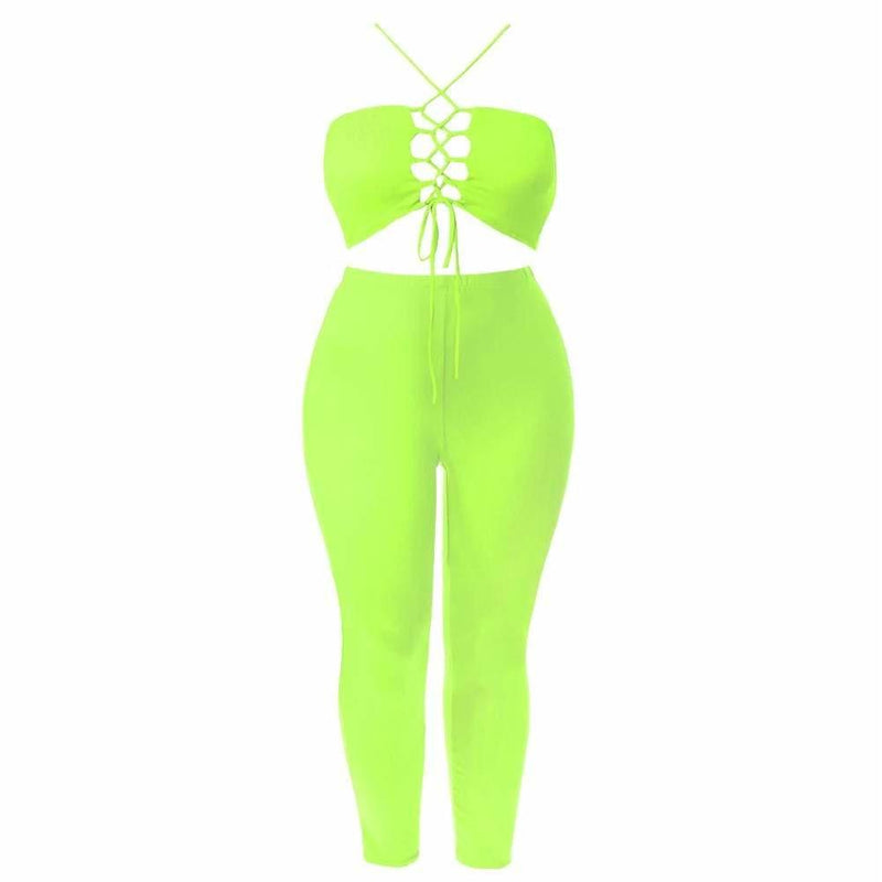 Plus Size Jersey Cross Front Top and Leggings Set, Buttercup