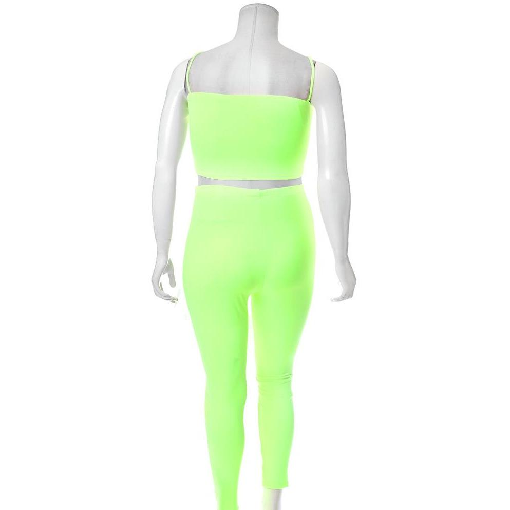 Posh Shoppe: Plus Size Reversible Lace Up Top and Leggings Set, Neon Green Bottoms