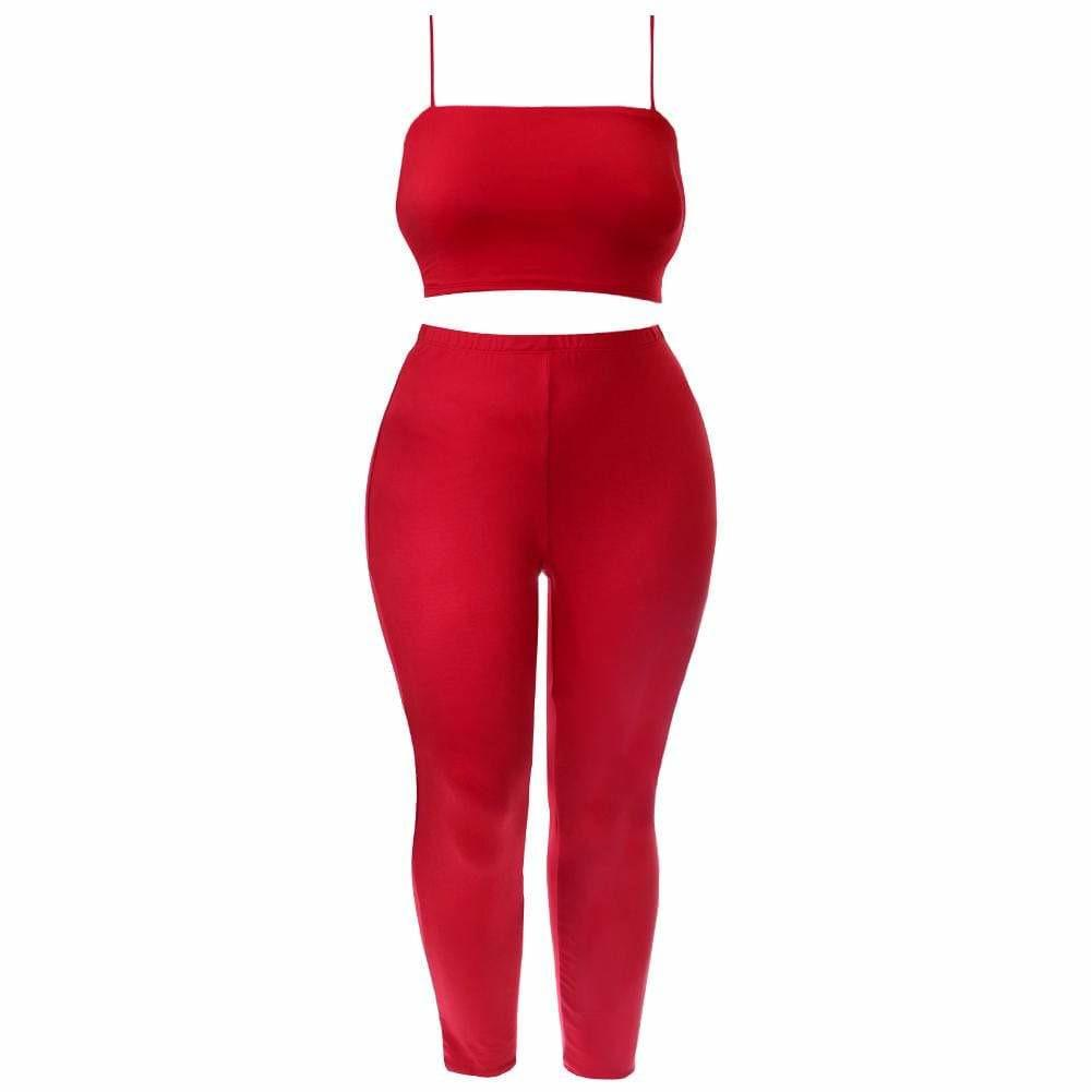 Posh Shoppe: Plus Size Reversible Lace Up Top and Leggings Set, Red Bottoms