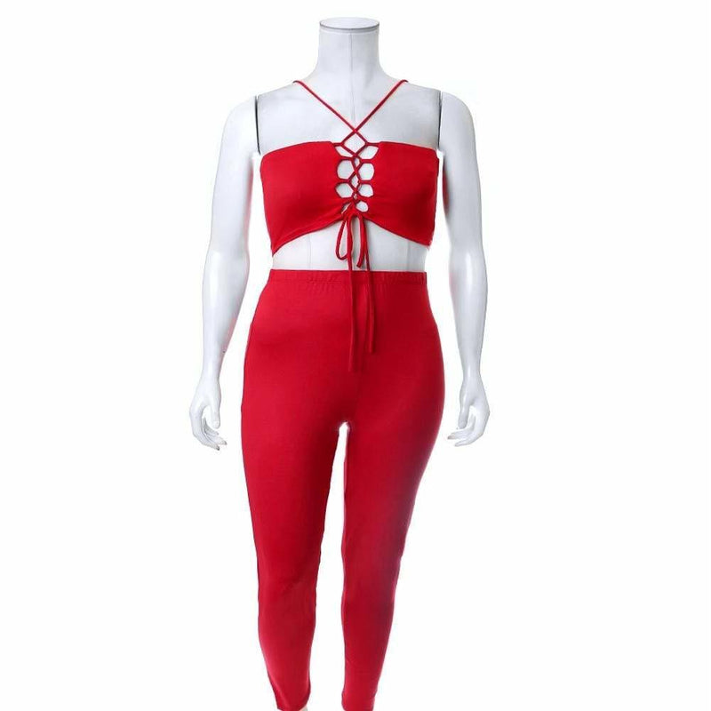 Plus Size Reversible Lace Up Top and Leggings Set, Red
