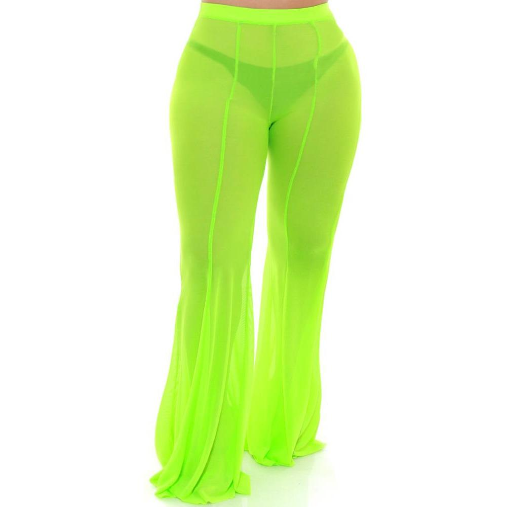 Plus Size Flare Leg Mesh Pants, Neon Green
