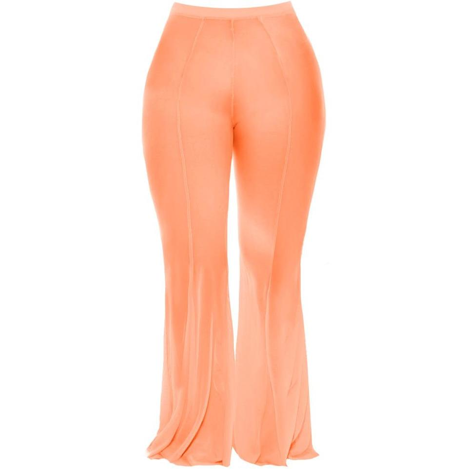 Plus Size Flare Leg Mesh Pants, Neon Orange