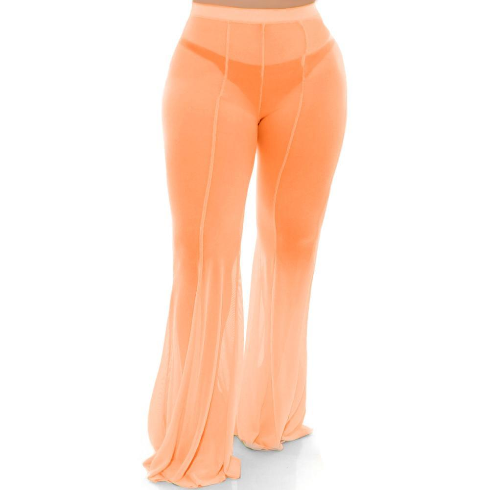 Posh Shoppe: Plus Size Flare Leg Mesh Pants, Neon Orange Bottoms