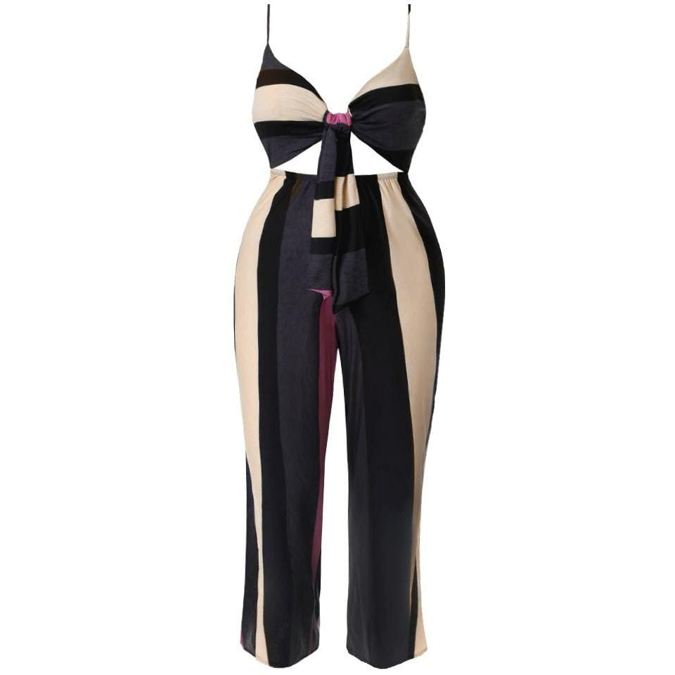 Posh Shoppe: Plus Size Knot Front Jumpsuit Bottoms