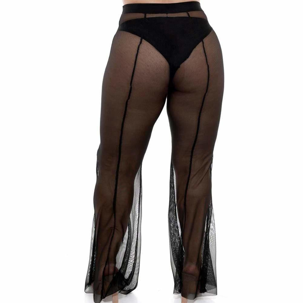 Posh Shoppe: Plus Size Flare Leg Mesh Pants, Black Bottoms