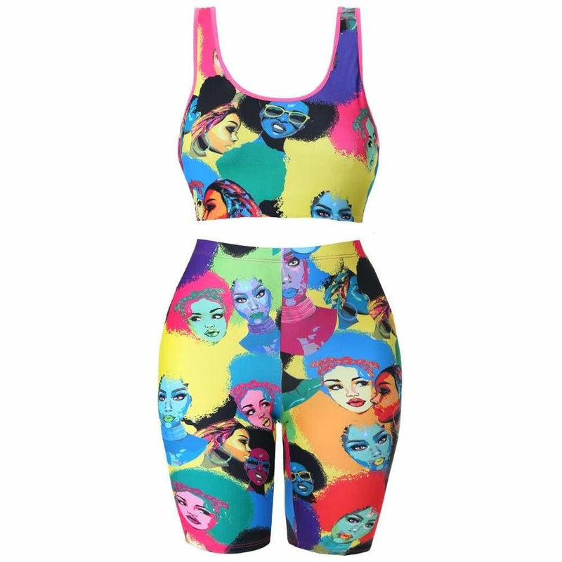 Posh Shoppe: Plus Size Crop Tank and Biker Shorts Set, Pop Art Print Bottoms