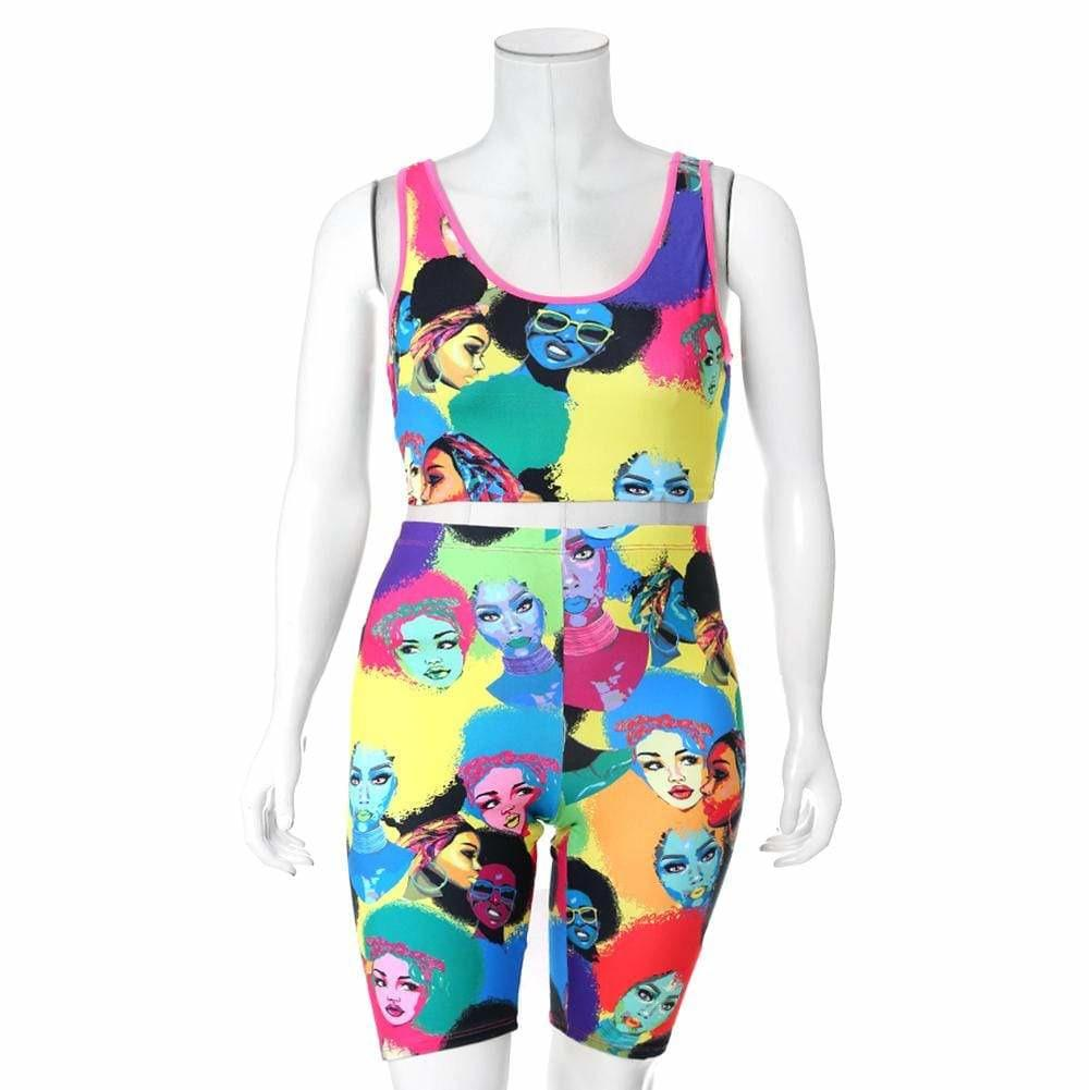 Plus Size Crop Tank and Biker Shorts Set, Pop Art Print