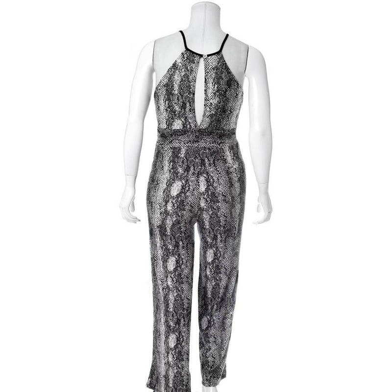 Posh Shoppe: Plus Size Ribbed Snake Print Jumpsuit Bottoms