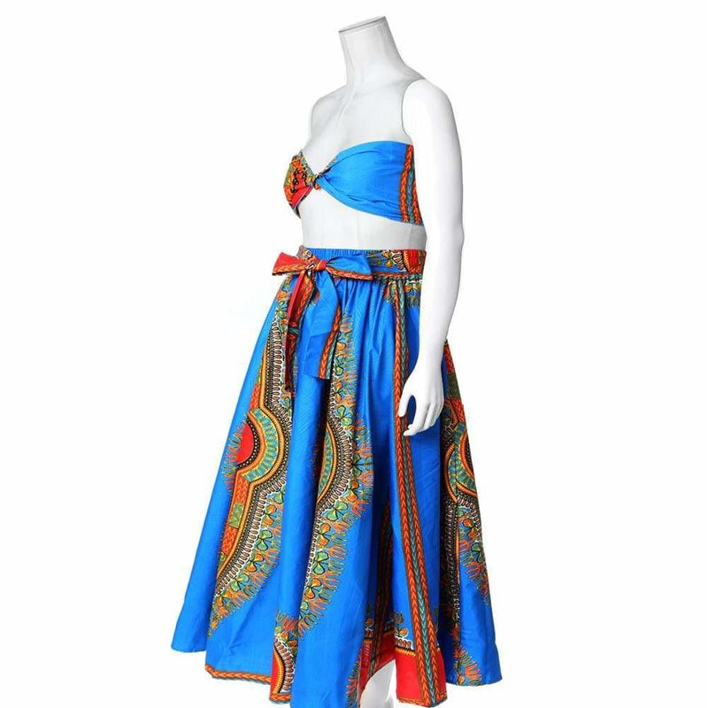 Posh Shoppe: Plus Size Printed Wax Maxi Skirt, Blue Bottoms