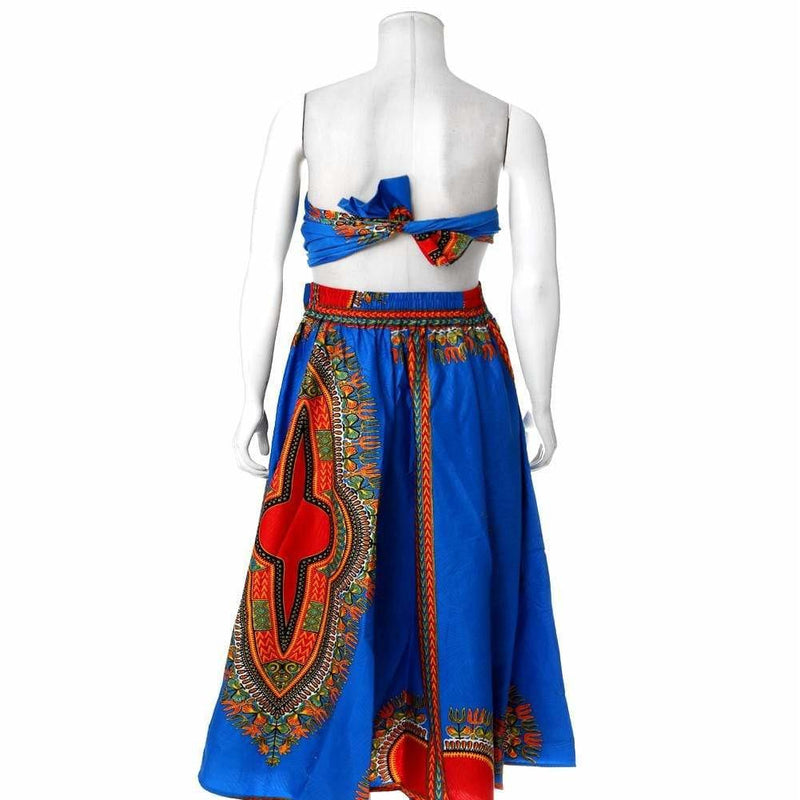 Plus Size Printed Wax Maxi Skirt, Blue