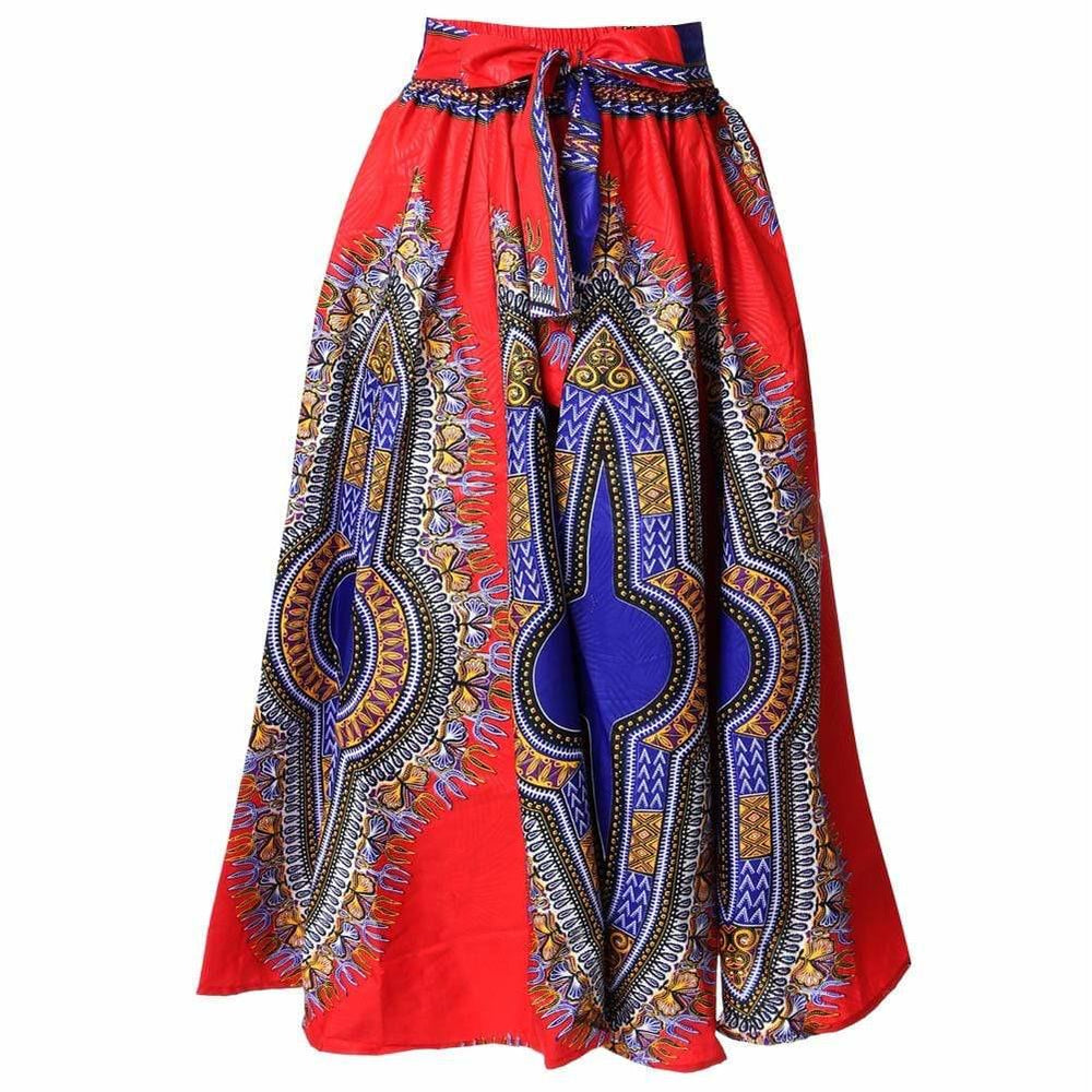Posh Shoppe: Plus Size Printed Wax Maxi Skirt, Red Bottoms